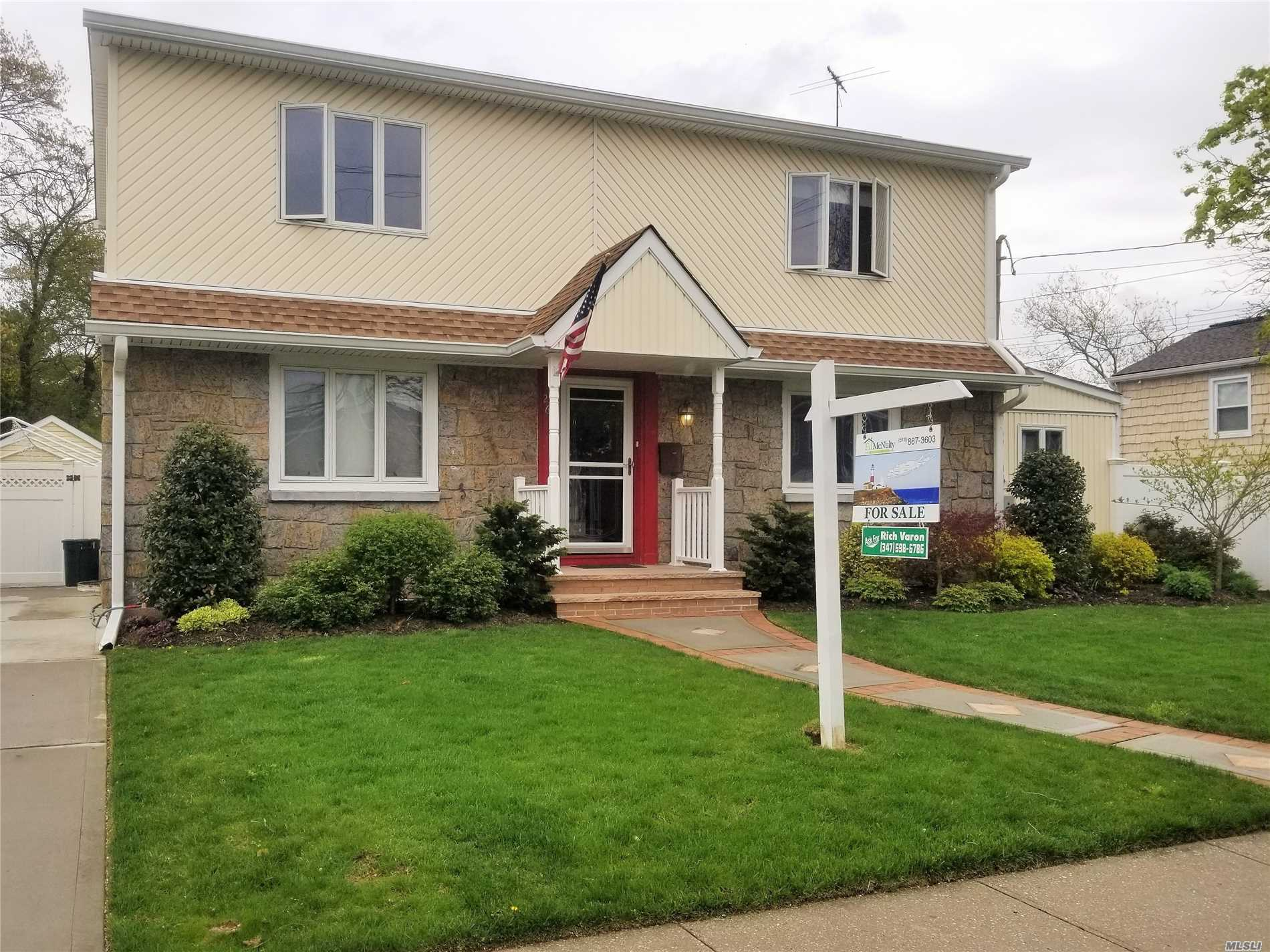 Motivated Seller! Price reduction on this 5 Bdrm Colonial W/1728 Int Sqft. Rare find! Oceanside School District! Finished Bsmt w/ plenty of closets and storage. Oversized Lot - 7, 696 Sqft. Roof 5 Yrs Young, Anderson Windows, 3 Zone Heating, 6 Zone Sprinkler System, Solar Panels (Under Lease) & Hw Heater 2 Yrs Young! Here today, gone tomorrow!! ***Taxes were grieved this year & with new assessment we are expecting a huge reduction!!*** Seller will consider a credit to help with taxes!!
