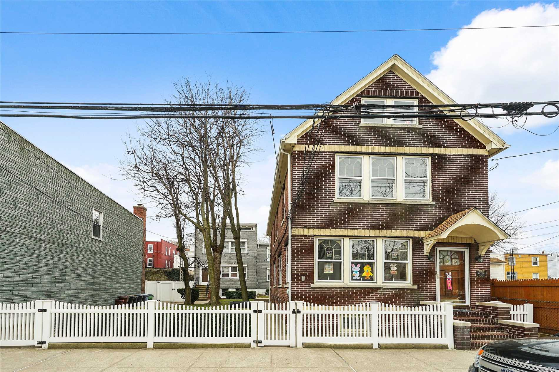 Investors Dream!! 3 two familiy homes on a 50x100 s/f lots. 60-36 56th Dr. 1 Detached Brick 2 family in front, 2 frame 2 families in back. 6038 56th Dr -2 family Frame, Bldg size is approx. 18 x 32, yearly taxes are $3, 747. 6034 56th Dr. -2 Family Frame,  Bldg size: approx. 22 x 29 yeary taxes $5, 704 See attached survey and set up sheet with breakdown and info for each home.