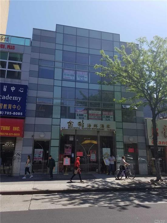 Prime Retail Location,  Heavy street and walking traffic ..  3.600 sq ft Store front for Restaurant !!! Fully Renovated with the Fixtures and Equipment included ! Basement is 1.500 sq ft for Storage.  7 Train and LIRR are 3 blocks away. Neighbors are CHASE BANK . MACYS , Starbucks and more !!!