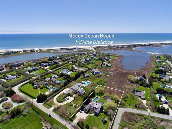 Hear the Ocean and enjoy the distant views from this Barn style home! It's a pristine retreat and ready to move into and enjoy this summer. Main level has Jr. Master, 2 bedrooms and bath and another full bath in mudroom, chef's kitchen, living room with one of 4 fireplaces, den, and controlled arboretum. Second floor has media room with balcony and vista to take in the ocean, Master suite and additional guest bedroom suite. There is a covered porch,  patio and a 48 ft heat Gunite pool.