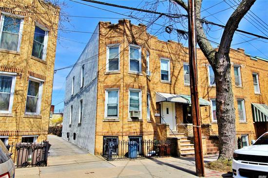 Brick Semi detached 2 family. Party driveway with rear parking for 2 cars. Near M train, nice private yard. This home will be all vacant on title