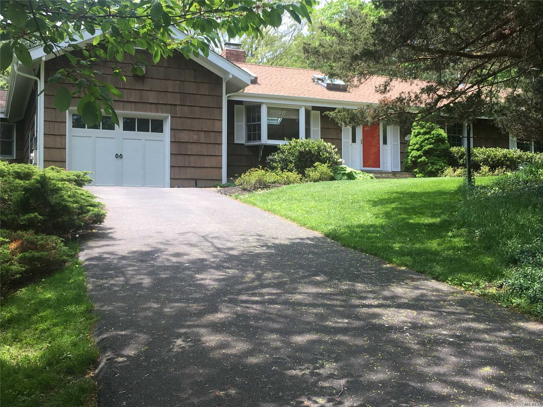 Sprawling 3 Bd, 2 Ba ranch set on a picturesque half acre in Mattituck. Natural light abounds with vaulted ceilings and 10 skylights throughout. Many wonderful features including Wood floors, SS appliances, central air, solar panels, and 2 new bathrooms. Beautifully manicured, fully fenced backyard with pond and gazebo. Room For A Pool. Conveniently located to Breakwater Beach with deeded creek access on Mattituck Inlet. Enjoy all the North Fork has to offer from this prime location.