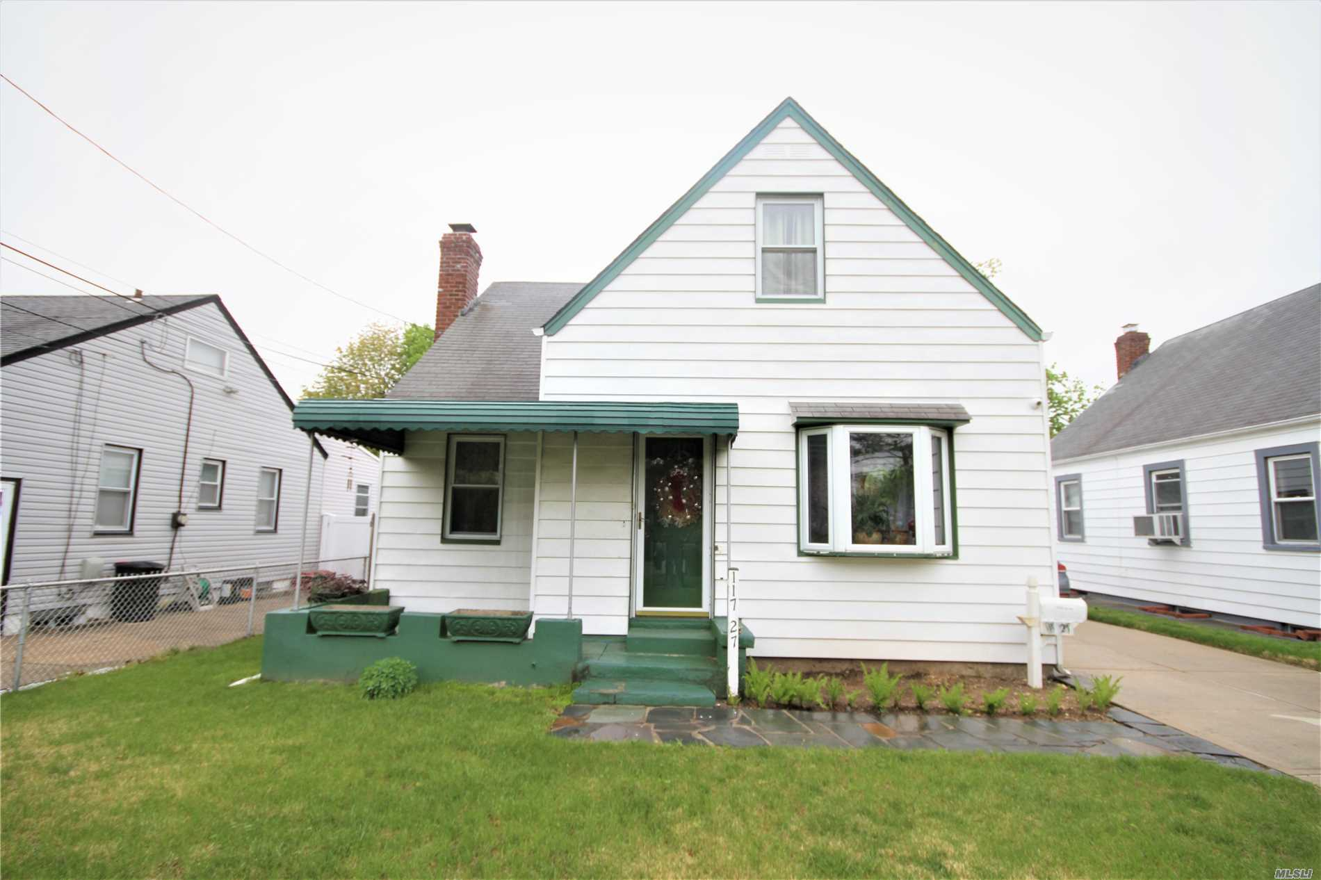 Well maintained Cape on a tree-lined one way street in a convenient Elmont location. Featuring a full finished basement, private backyard and detached 2-car garage. Easy access to the Southern State and Cross Island parkways. Near mass transit Q4 bus, X64 and shopping on Linden Blvd.