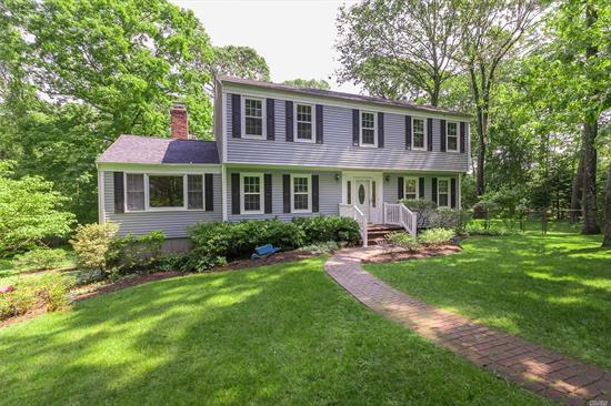 Recently Updated Center Hall Colonial Situated on.65 Acre in Tranquil Cul-De-Sac. It Features Spacious Gathering Rooms, Wood Burning Fireplace, Newly Painted Interior, New Carpeting in Bedrooms, Two Car Garage and Full Basement. The Rear Yard is Ideal For Quiet Family Gatherings or Gracious Entertaining. Close to Stony Brook Village, and University. Three Village Schools