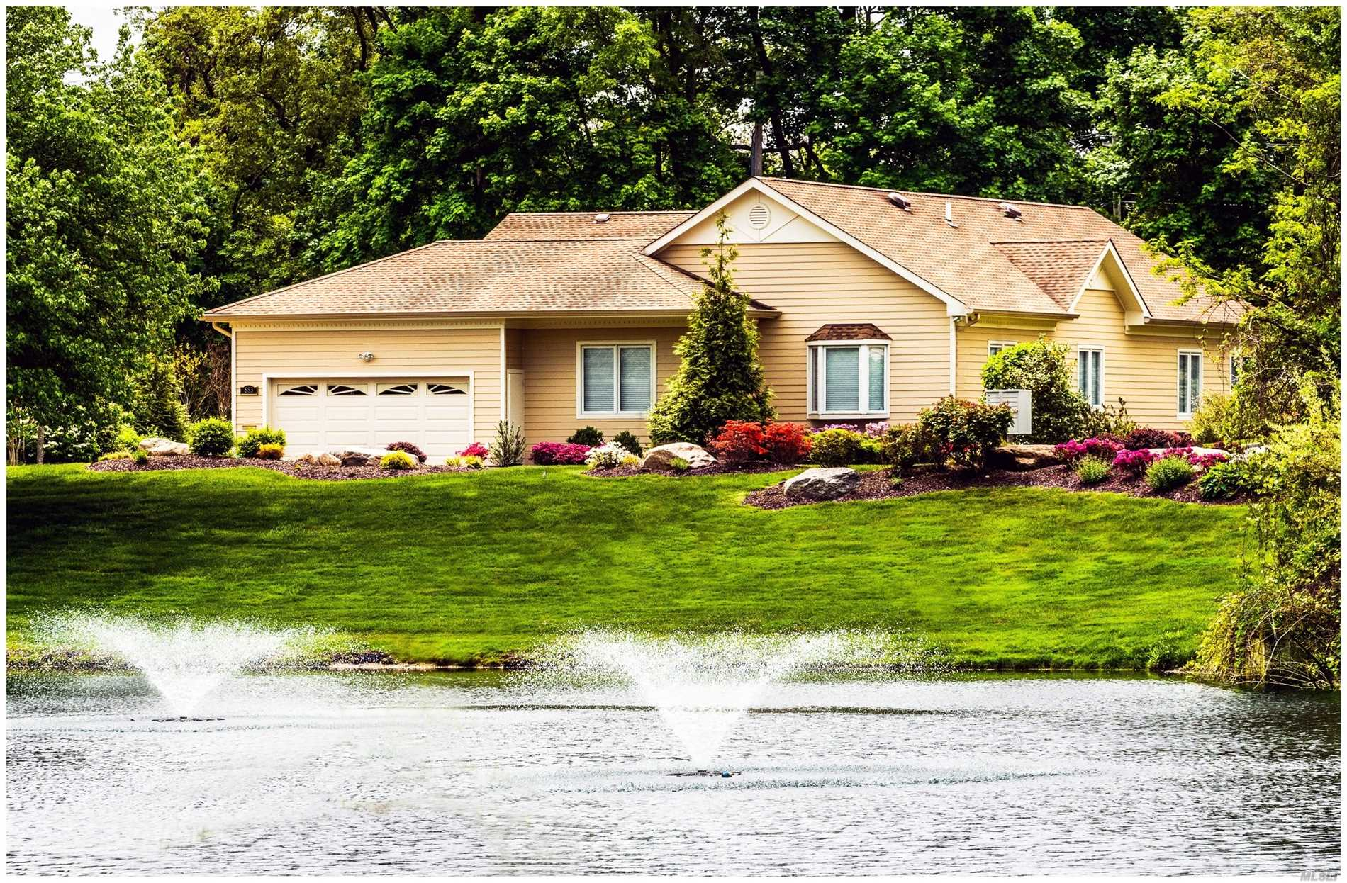 Set beside a pond in the prestigious gated community of The Links, this newly constructed Kensington Ranch is the picture of contemporary modern minimalism. With an open plan living-dining area & family room. French doors open to a private backyard patio w/beautiful garden view. Custom-designed chef's kitchen, Master on main w/two additional bedrooms, full & half baths. Radiant heat. Elevator to walk-out basement, that includes two bedrooms, full bath, fitness center and cedar closet.
