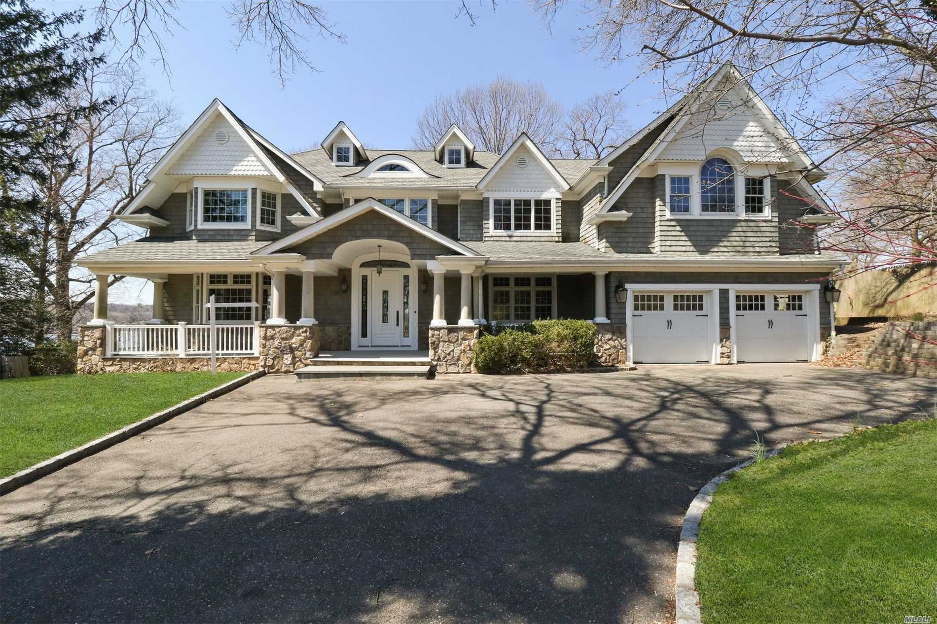 Amazing 5, 256 sq feet Young Colonial over looking Hempstead Harbor Situated on Half an Acre at the end of the cul-de-sac. Gorgeous Water-view from all Angles. Stunning Sunsets. Lr w/18 ft ceiling. Huge Basement has 10 ft ceiling Suitable for Gym, Basketball Court or Entertainment Area. Hardwood floors Throughout. Every Bedroom has it's own character.. Room for Pool. You will Be Impressed.