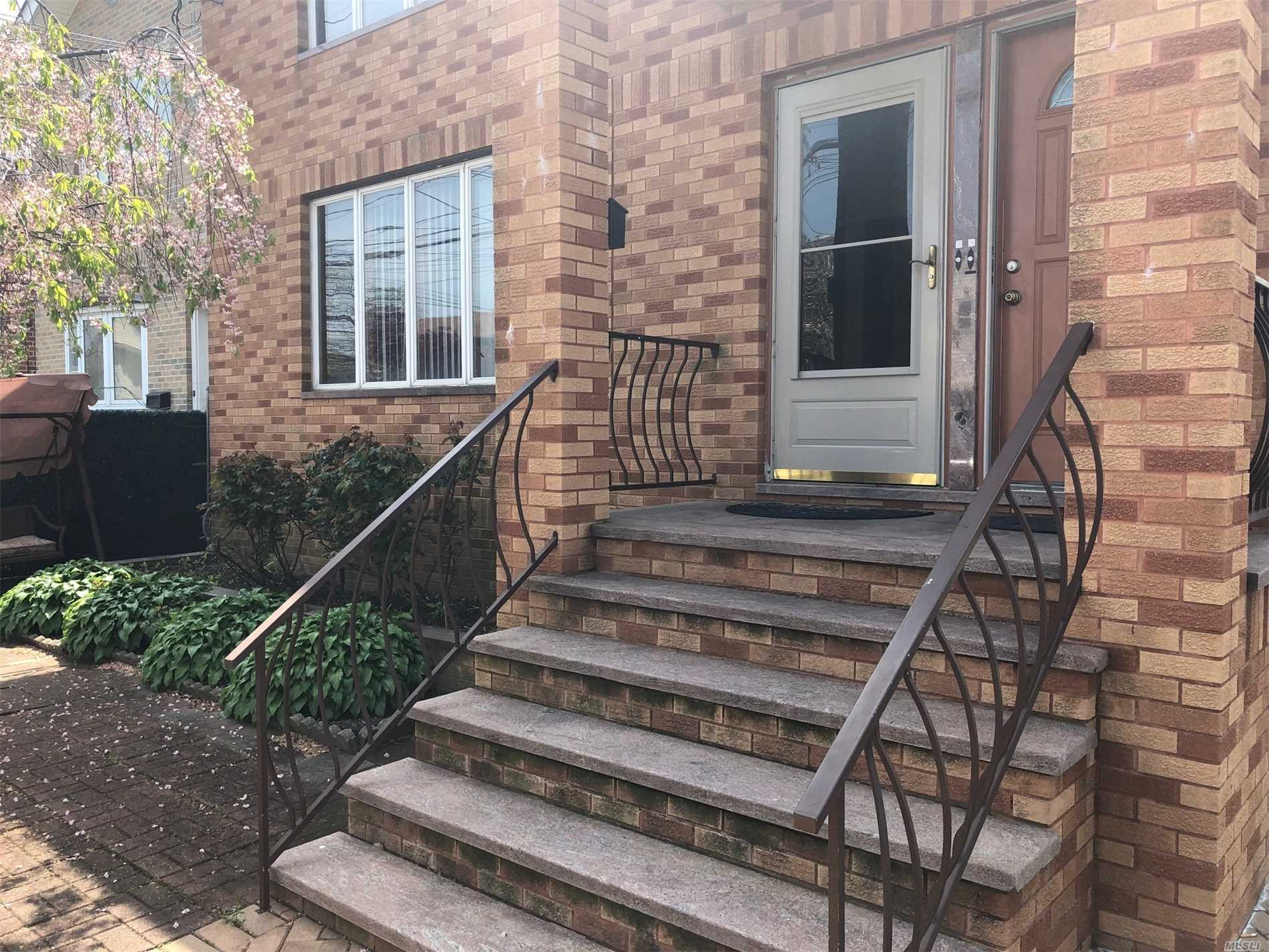 Huge over 1300 sq feet 3 Bedroom , 2 Full bath apartment, Eating kitchen with New Appliances , Large Living room dining room area , Huge closet space including walking closet on Master Bedroom , Heat & Hot Water Inc. Cenral A/C .First floor with small patio in the front .