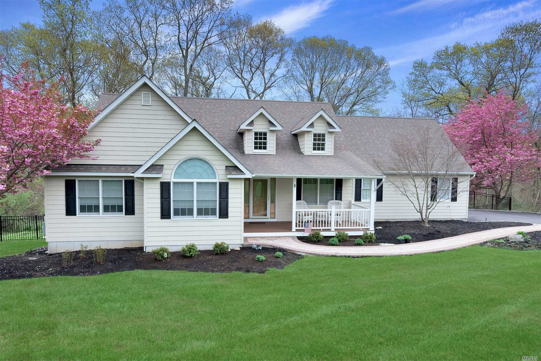 Move Right Into This Spacious Ranch In Desirable Village at Wading River. Open Fl. Plan. Lots of Oak Cabinets, LR w/Fpl, C/A/C, Freshly Painted BRs & Bths. New Carpet, Walk Up Attic Above Garage, New Expanded Driveway & Decorative Pavers. New Trex Porch, New Fence, Cedar Impressions On All Sides. Over 3/4 Acre w/Lazy L Salt Water Pool. New Filter & Pump. SWRSD