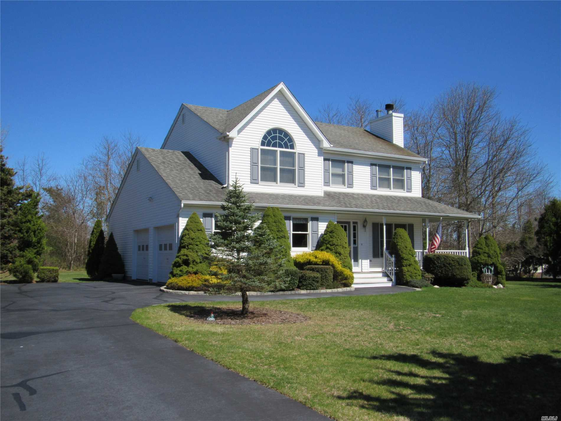 Super immaculate 4 bedroom, 2.5 bath colonial style home on 1.07 acres. Features include new oil fired heating system, central a/c, gleaming hardwood floors, wrap around porch, fireplace, walk in closet. This home is spotless.