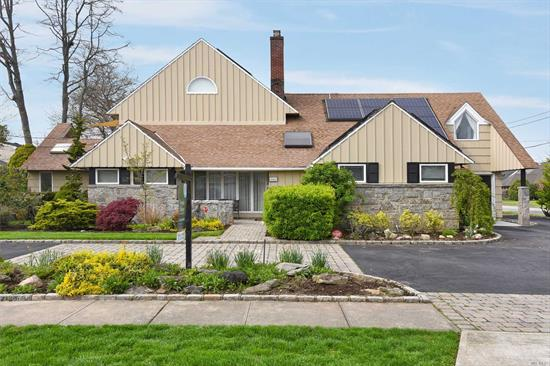 Spacious 3400 Sq Ft Exp Ranch with 5 Bedrooms, 3 Baths and Wonderful Open Layout Perfect for Entertaining. New Gran/Wood EIK with Stainless Steel Appliances, FDR, Living Room w/ Fpl & Skylit Fam Rm w/ Vaulted Ceiling. 2 Master Bedrooms. Upper Level Mstr Has WIC, Bth & Sun Deck. Circular Drvewy & Att Garage. Solar Panels Reduce Electric Bills Tremendously! Pull Down Attic & Lots of Stor.Sauna. Taxes Being grieved and assessment is Greatly Reduced. Seller willing to compesnate until reduced.