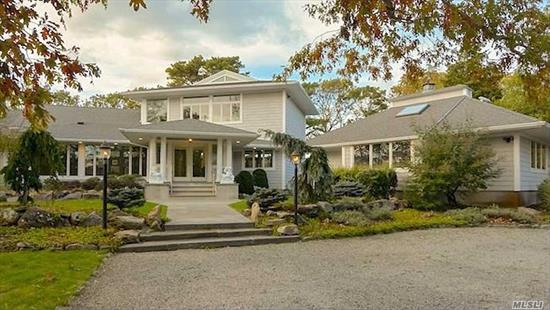 Palatial Retreat, Surrounded By Water, Flora & Fauna of Red Creek Pond out to Beautiful Peconic Bay. On this Serene Setting You will Enjoy Your Magnificent 2 Story Retreat that Must Be Seen! Custom Designed 3800 sf 5 BRs & 4.5 Baths, Cathedral Ceilings, HW Floors, Great Rm/LR w Gas Fpl, DR/Chefs Kit, Den +Walls of Glass Lead to Your Waterfront Decks with Gunite Pool & Spa. Stairs lead to Huge Master w Custom Bath w Jac & Decked Balcony. Plus Pool/Guest House w All Amenities.2018 Permit for Dock.