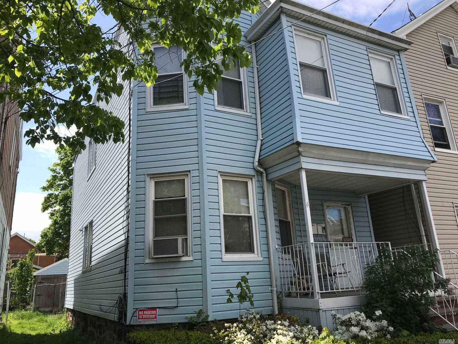 Detached 2 family with driveway, walking distant to Q25, Q20A, Q65 and public school and New York Sport Club. 3 bedroom 1 bath apartment on 2nd floor and 1st floor apartment has 2 bedroom 1 bath.