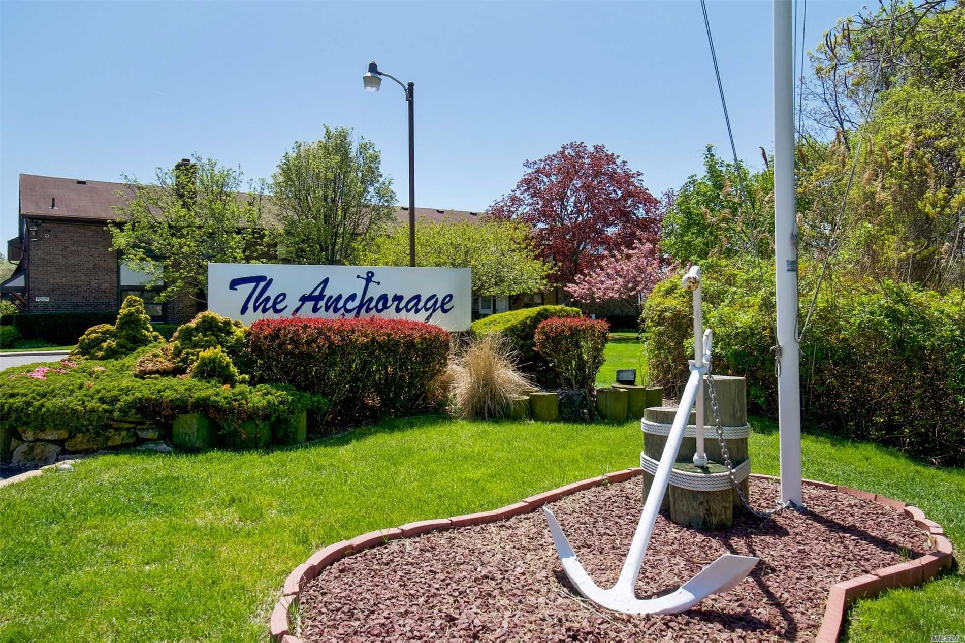 This Anchorage Waterfront Gated Community is a Boaters Delight! Amenities Include Waterviews, Dock Space for Your Boat, InGround Pool Overlooking Great South Bay, Clubhouse, Tennis Court & Marina. This Unique 1 BR Unit Has Many Updates & Custom Built Ins Closets Throughout w/Full Attic, Eat In Kitchen, Din Rm, Full Bath w/Washer/Dryer, Office, Liv Rm w/Sliders to Balcony & Views of Canal. Common Charges Include Gas For Cooking & Heating, Water, Snow Removal, Landscaping and Mstr Flood Insurance