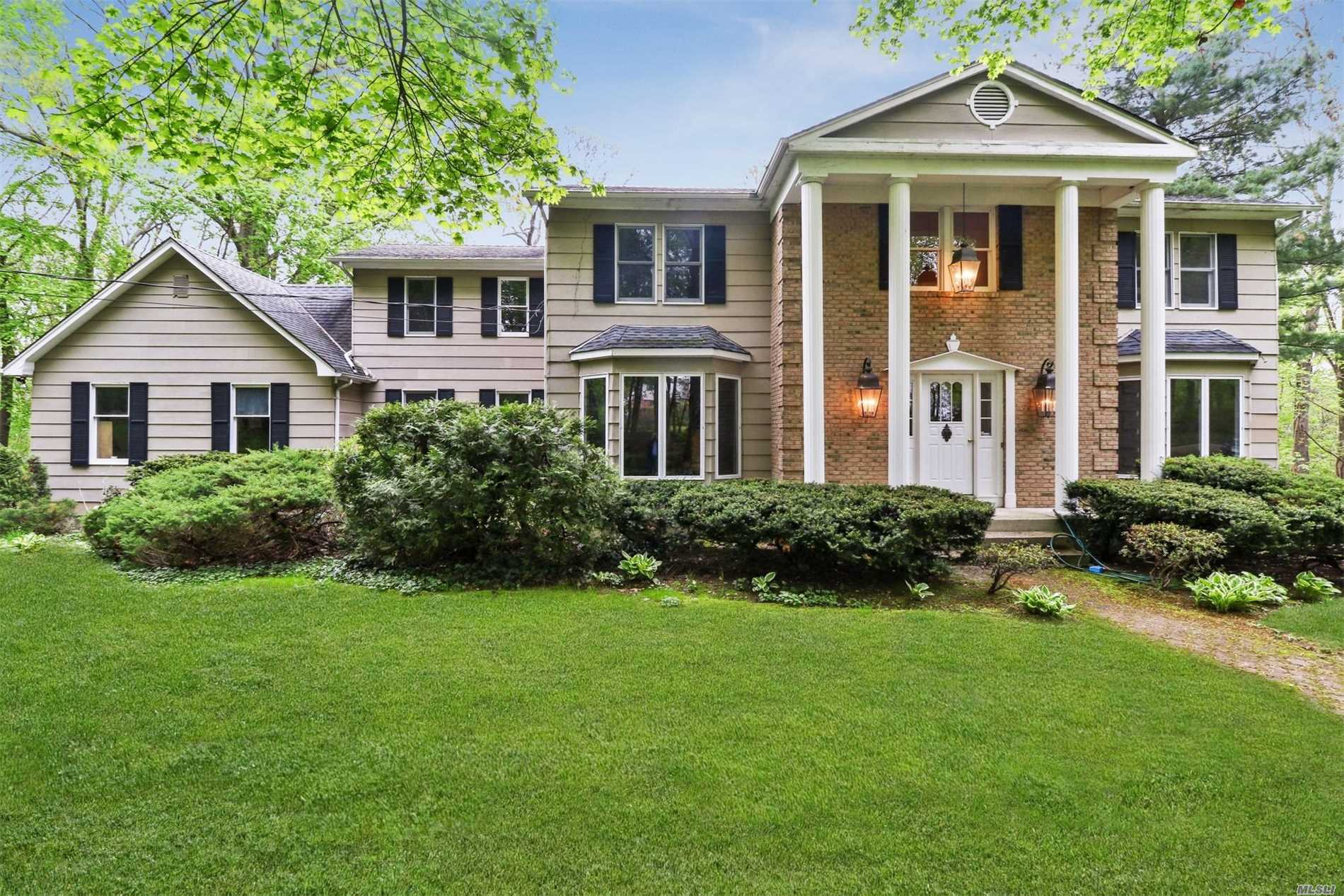 Beautiful Colonial Set On 5+ Acres Towards The End Of A Private Road Featuring 4 Spacious Bedrooms, Large Den & Sunken Living Room, Formal Dining Room, Maid Quarters, 3 Full Baths, 1 Half Bath, Large Eik W/ Brfst Bar, Full Unfin Basement W/Ose, Plumbing Ready. Master Suite Has Full Bth & Balcony. Pool With Wrap Around Deck