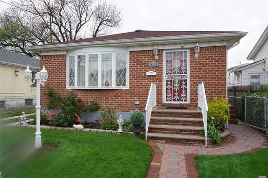 Well maintained 3 bedroom ranch,  livingroom/diningroom,  kitchen with customized cabinets, full finished basement with separate side door entrance,  beautiful backyard with patio that is great for entertaining and solar panels. House is on a beautiful block and near highway and public transportation