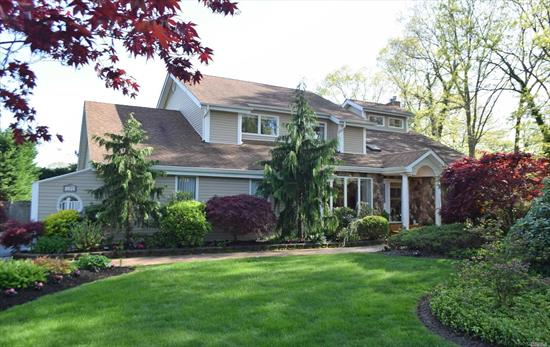 Truly turn key, beautiful center colonial, desirable Smithtown Pines, huge rooms, vaulted ceiling, wood floors through out, stainless appliances, granite counters cherry cabs, country club back yard, flat private property, heated in-ground pool w/new liner, and water fall, separate office with ose, meticulously maintained, heated oversized-garage, generator hookup, low taxes and desirable Hauppauge schools.