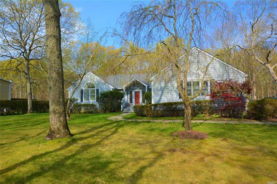 Spacious one level living in desirable Long Tree Pond community. Expanded ranch with open floor plan. Sunny eat-in-kitchen with sitting area, dining area, living room w/fireplace and sliders to rear decks. Master bedroom suite + 2 additional bedrooms and full bath. Laundry room on 1st floor, side entrance 2 car garage, huge unfinished basement. Private yard with gazebo. Add your special touches to this home in need of some TLC. Community offers access to pond, 2 tennis courts/sports court.
