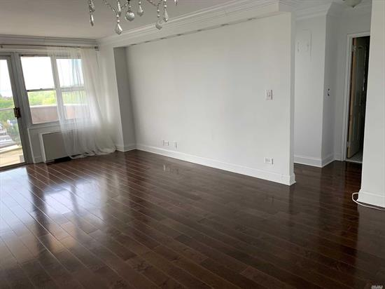 Completely renovated in 2018. Maple wood floors all else high-end materials. Ideally located on outer side of the building, facing 2 bridges and bay. On a high floor. See the unobstructed gorgeous sunset over NYC skyline daily! 1 Block to local & express bus to NYC, and Bay Terrace Shopping Center. Pet-friendly, dogs under 40 lbs. One monthly maintenance bill inc gas, electric, CAM, tax. 2 level-underground garage. Commercial laundry room, deli, dry-cleaners, nail salon, gym, pool, 5tennis...