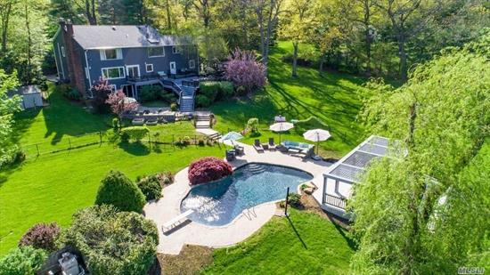 Recently Renovated 5 Bedroom, 5.5 bath Masterpiece that Embodies Modern Luxury to the Fullest. Approx 4200 sq ft of Spacious Living Area Situated on 2 acres in the Prestigious Syosset School District. Gorgeous Mst Ste w/ Vaulted Ceilings, Dressing Room, Family Room w/Flp. Lower Level Features, Playroom, Fitness Center, Movie Theatre amd Cedar Closet. Park-like Grounds with Multi Entertaining Patios and In Ground Pool. Impeccable Finishes Throughout This Fabulous Home.