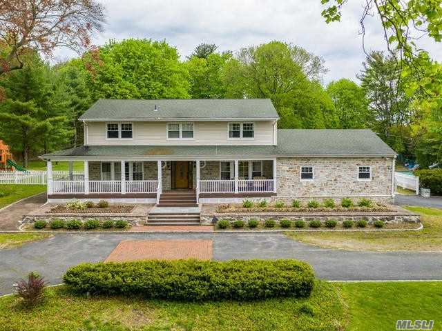 Outdoor Paradise! Gorgeous Fully Updated 4 Bedroom Colonial in the heart of Muttontown! Set on over 2 acres w/ Inground Gunite Pool, Cabana and flat parklike property. 1st Floor- LR, FDR, EIK, Office, Den w/fireplace, Bedroom & 1.5 baths. 2nd Floor- Master W/Ensuite, 2 additional bedrooms & Full Bath. Basement with Utilities, Laundry, Cedar Closet and Wine Cellar. A Must See!