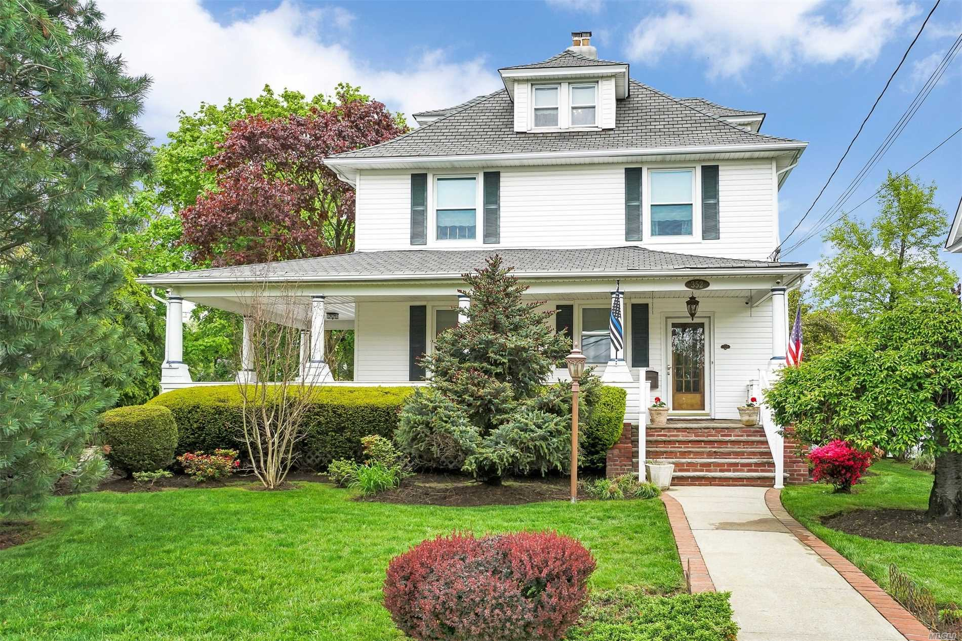 Gorgeous updated colonial in historic Freeport district. Boasting updated but original wrap around porch, wood floors, new kitchen, and updated bathrooms. Original charm with modern finishes. Mother daughter with proper permits and possible guest house with proper permits.