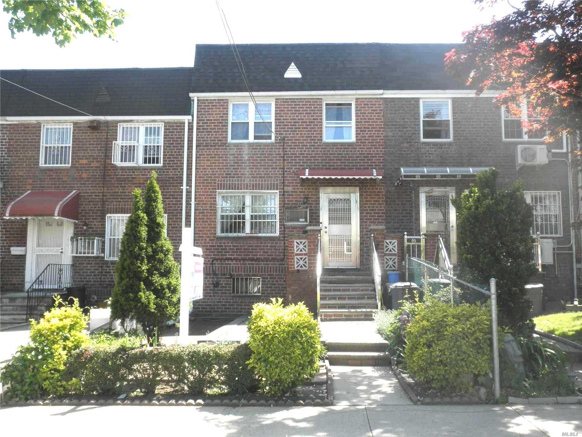 All Brick Colonial On 18X100 Lot With R4B Zoning !! Sunny Living Room, Formal Dining Room, Huge Eat-In-Kitchen, Half Bathroom On First Floor. 3 Bedrooms And Full Bath On 2nd Floor. Spacious Walk-In Basement With High Ceiling & Large Windows & Sep/Ent . 18x36 Building Size!! Gas Heating. 1 Car Garage. Large Backyard. Near Transportation, Shops And Schools.