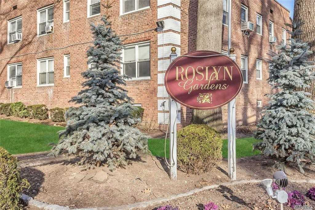 Absolutely MINT large corner unit in Roslyn Gardens. New custom kitchen with granite counters and a new full bathroom. Immaculate & Tastefully Done. Wide open concept LR/DR and kitchen. Bright & Sunny with windows throughout! Convenient To Transportation & Shopping. Beautifully manicured grounds! Move right into this turnkey opportunity! Sale may be subject to term & conditions of an offering plan. Common charges with STAR $695.25