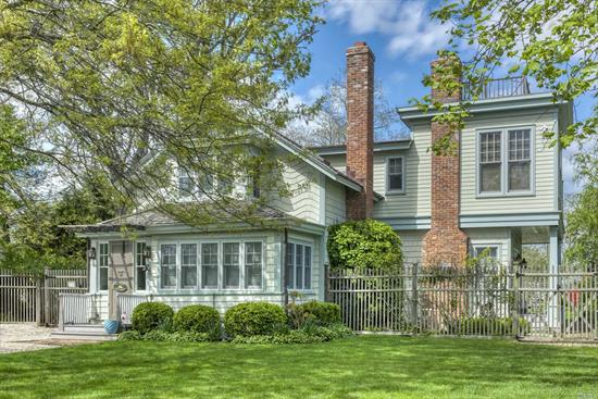 Exquisitely restored and renovated 19th C home, located on coveted King St. in Orient Village with open field views. Main house has gourmet kitchen, 2 fireplaces, original hardwood floors, sunroom, CAC, upper balcony. Restored year-round guest house has 2 bedrooms & large common space, fully heated with AC. Gunite heated swimming pool, sep. garage/studio, large deck with pergola, outdoor shower, potting station & so much more. SQ Ft Main house: 2, 975, guest house: 1, 364 total :4, 338