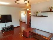 Desirable Two-bed Unit in Quiet, Beautiful Manicured Community, Separate Garage Adjacent to Building. Separate Dining Room, Hardwood Floor Throughout With Natural Cork Underlay For Soundproof. Renovated Kitchen & Bathroom. Large Windows Facing SW & NE. Plenty of Sunshine and Ventilation. Cool in the Summer. Storage Unit Included. Newly Renovated Amenities Include Playground, Basketball Court, Picnic Area, Dog Run, Swimming Pool. Great Neck South Schools. Five Minutes' Walk to LIRR