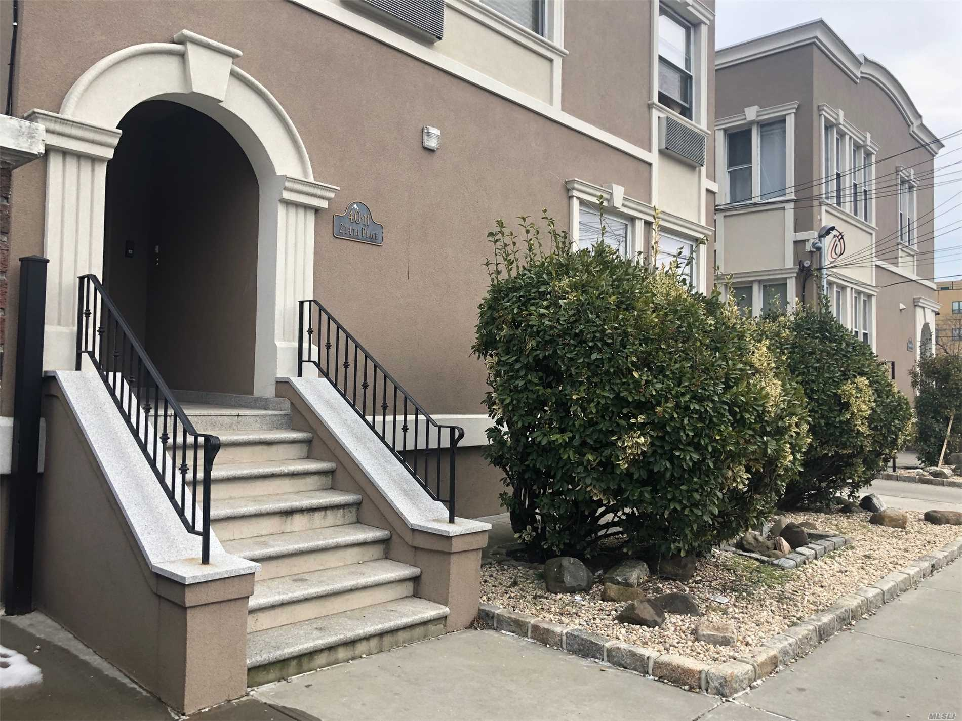Commuters Dream Apartment! Located only One block to the Bayside Bell Blvd LIRR as well as culturally enriched eateries and Lounges. Apartment was completely remodeled in 2017 and boasts custom moca shaker cabinetry, granite counters,  state of the art fixtures, kitchen appliances and full size front load stack able washer dryer within the apartment. You have the option to choose between a one car garage spot or an outdoor parking spot for an additional monthly fee.