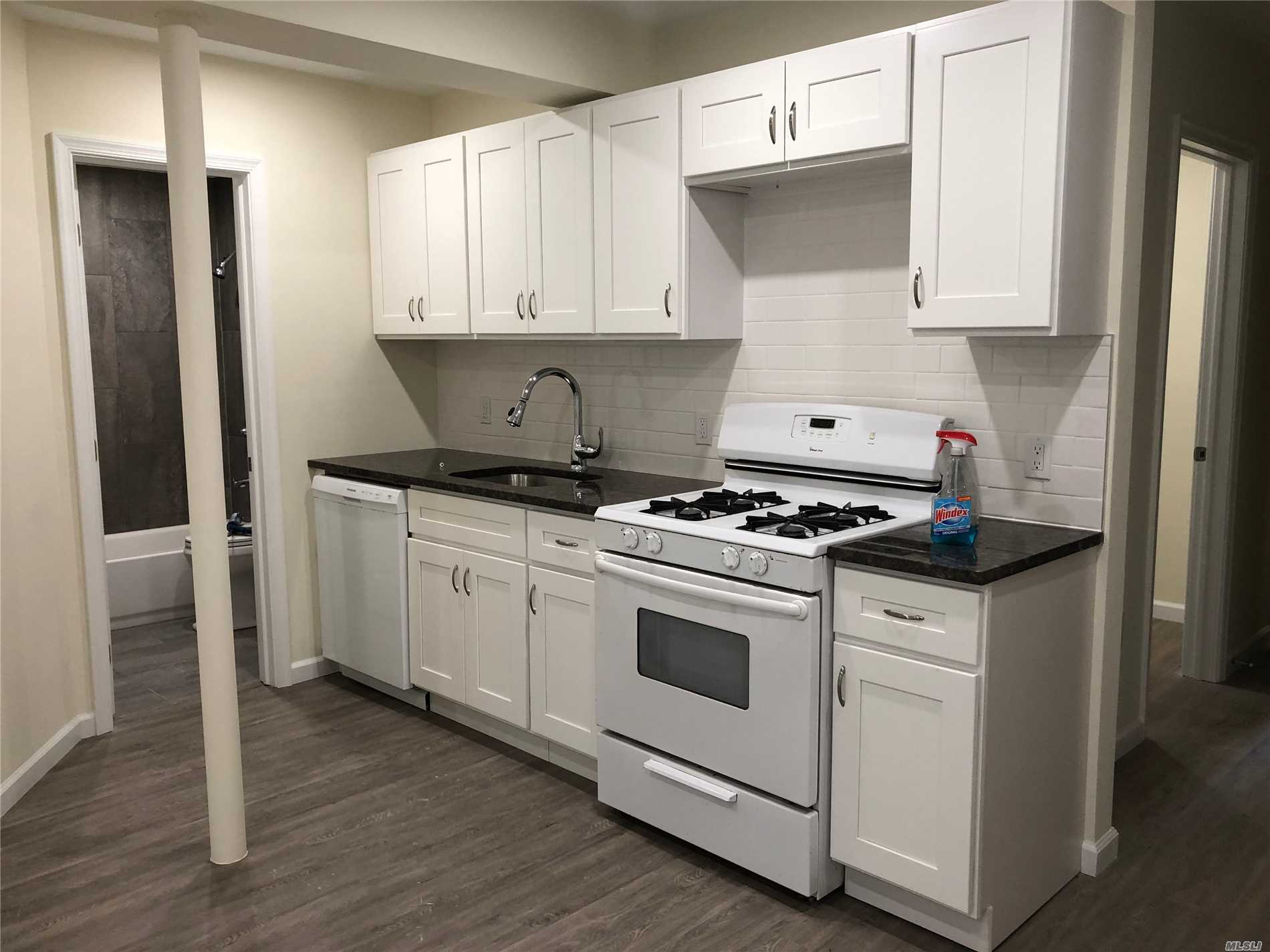 Beautiful Upper Ditmars/Astoria Heights location. Gut renovated new 2 bedroom apartment with 2 full bathrooms and access to private backyard. Lots of closets and storage space. Completely renovated with newly kitchen, appliances including dishwasher.