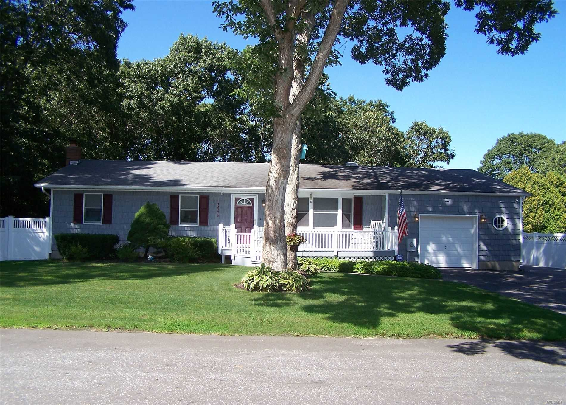 Adorable 3Bdrm, 2 Full Bath Ranch w/ Newly Refinished Hardwood Floors, Living Room Plus Den w/ Built Ins on Main Level, Dining w/ Sliders to Rear Deck&Pool, Master Suite w/ Walk in Closet Plus Full Size Closet, Full Bath&Sliders, Lots of Storage (2 Sheds, Attic, 1.5 Garage, Full Fin Bsmt) Front Porch, Double Wide Driveway w/ Cobblestone Apon & Side Parking for Boat/railer/RV, Fully Fenced Backyard, Ceiling Fans, CAC, IGS, Less Than 3 Minutes to Both LIE & Sunrise Hwy. South St School.
