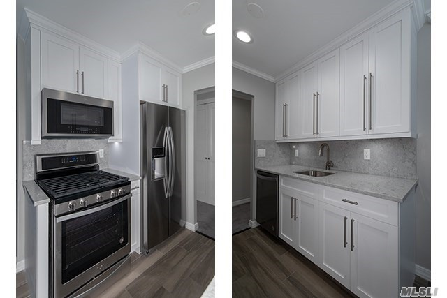 Shaker-style kit/bath cabinets.Quartz ctrtop/backsplash/plank tile flr. Frmls shwr drs.subway tile bath/quartz vanity/basketweave flr tile.Hi-hats.Ceil fans.Whirlpool gold ser stls.stl.appl. WD.Gray paint/crpt.Club/Gym/Pool. Close to StonybrookU/Rte25/Nicolls Rd/347.Smithaven Mall. Prices/policies may change w/o notice.