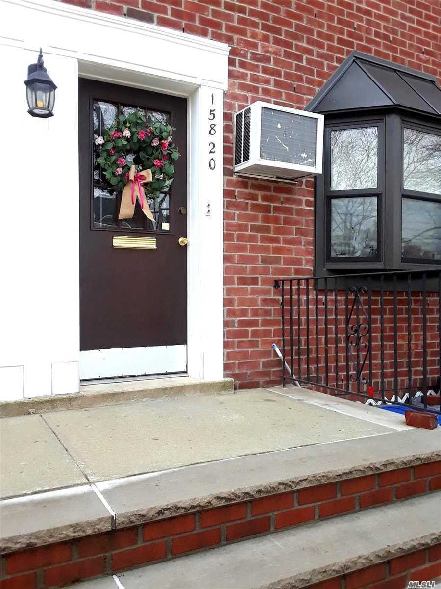 Sun filled corner Upper 1BR end unit W/new kitchen and new Bathroom, Washer, Dryer, 2 AC. Hugh Attic fully floored for storage. Easy access to all Trans & Shopping. Maintenance includes electric and RE Taxes. Maintenance with appliances $891. Immaculate condition!!!!