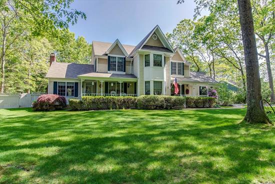 Unique 4 bedroom Victorian situated on 1 acre with IG 20x40 pool. Home features Double Entry Hall, Large Flr & Fdr, Spacious Eat in Kitchen w/Granite Counter tops & stainless Appliances,  Lovely family room w/Soaring Ceiling & fireplace, Hardwood floors throughout 1st Flr & 1st Flr Laundry. 2nd Flr Incs Master bedroom w/Master bath inc shower stall & Sep Tub, 3 Add Brs & Redone Tile Bath Fabulous. Backyard is extremely private, meticulous kept w/extensive plantings.