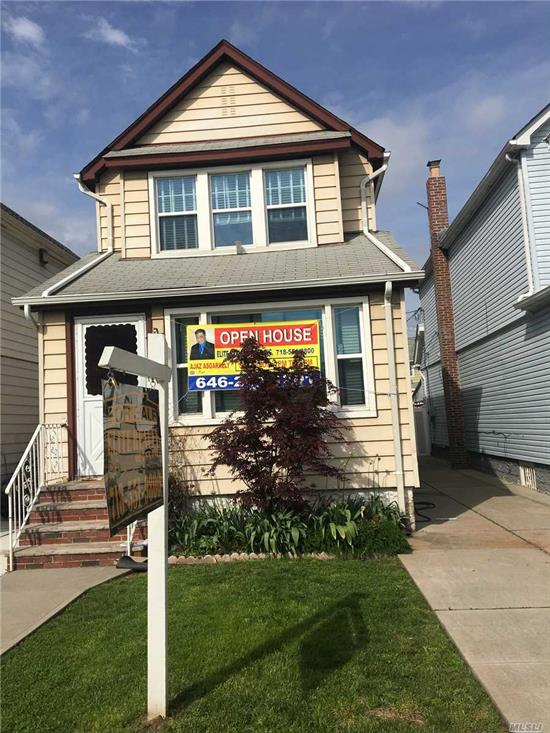 Beautiful one family with hardwood floors huge bedrooms , formal dining room eat in kitchen. Walk up attic lots more.