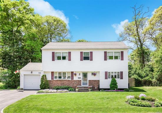 Elegant, bright, and comfortable, this beautiful colonial style home offers 4 bedrooms and 3 full baths in the highly sought-after Village of Bellport. Amazing eat-in kitchen with SS appliances and granite counters. Comfortable den plus formal living and dining and full finished basement. Inviting master with access to bath. Serene backyard with patio, and fantastic gazebo- great for entertaining! Office/5th bedroom, central AC, laundry room, and 1 car garage. Easy living in coastal paradise!
