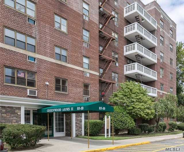 This spacious 2 bedroom, 2 bath coop in the Greenwood Arms building is ready for you to call home. This unit features 2 large bedrooms, 2 baths, spacious LR, DR, ample closet space, laundry room and new elevator. Storage and parking available. Close to shopping, schools, highways, transportation, JFK and casino. Maint includes all utilities including basic cable for Spectrum.