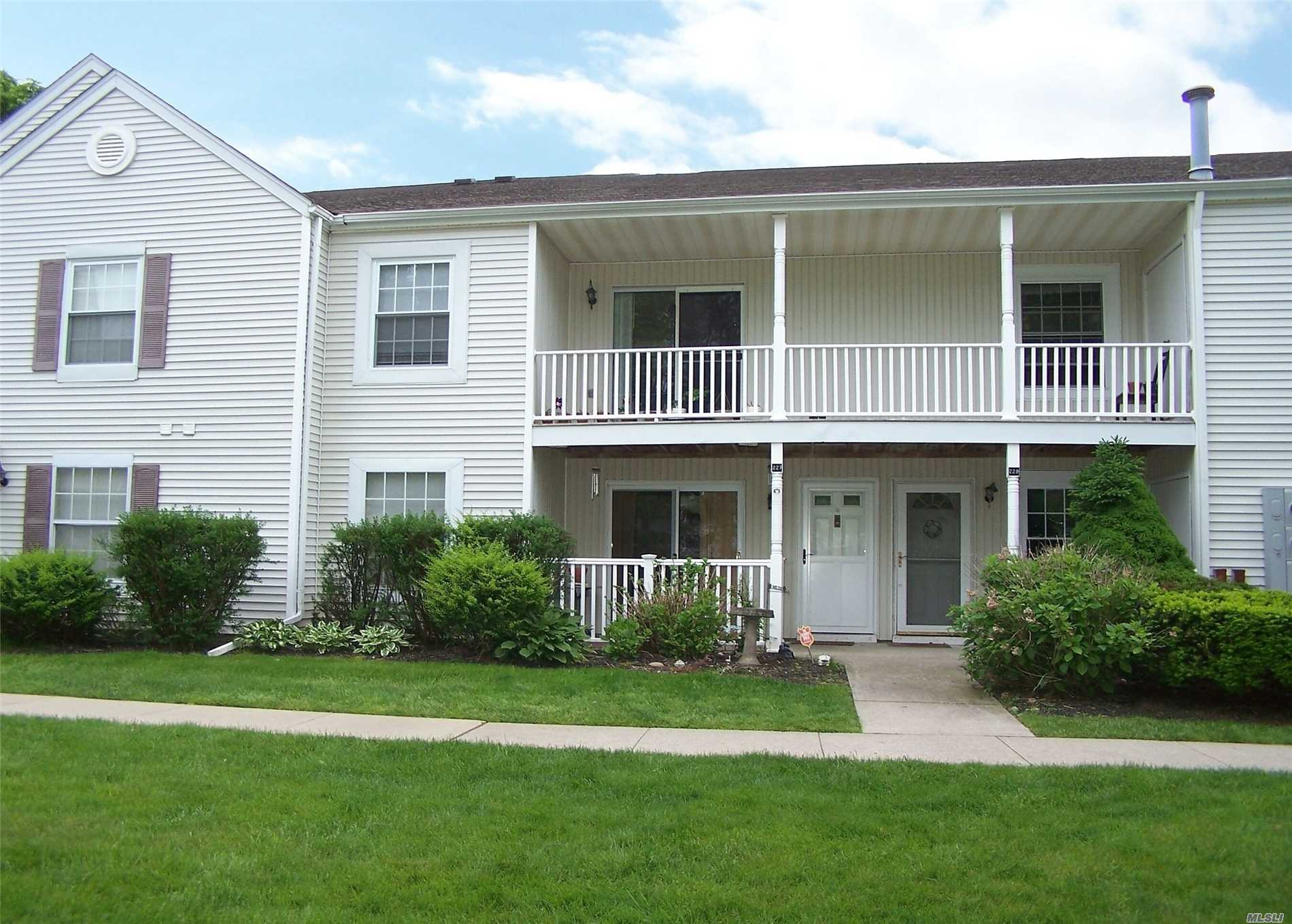Sale may be subject to term & conditions of an offering plan. Beautiful First Floor Unit With Spacious With Tranquil View of the Lake, Gorgeous Eat In Kitchen, Granite Counters and Tile Back Splash,  Updated Baths, CAC, Community Pool and Gym. Common Fees Include: Water, Snow Removal, Landscaping ;Access to Clubhouse,  Pool, Tennis Courts and Gym . Priced Right! Owner Motivated!