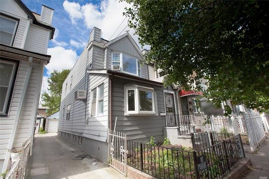 This property is R3-2 zoned semi detached in the most convenient location of Kissena Blvd and 75th Road. 3 large bedrooms, skylight and full bath on the second floor. The first floor offers a large foyer, open living space and dinning room with an EIK and 1/2 bath, access to the backyard. Separate entry to the basement with full bath, two rooms, laundry, boiler, heating and plenty of storage spaces. Can't afford to miss out the opportunity.