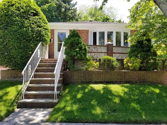 very desirable Oakland gardens, whole brick ranch, best school district #26, P.S. 188, I.S.74, recently changed roof in 2018, very quiet & convenient block, Central air, nice view from the private front porch, full finished newly tiled floor basement with separate entrance has office & playroom, , bus to Flushing Q27, to NYC QM5, Q88, near to beautiful Alley pond park,