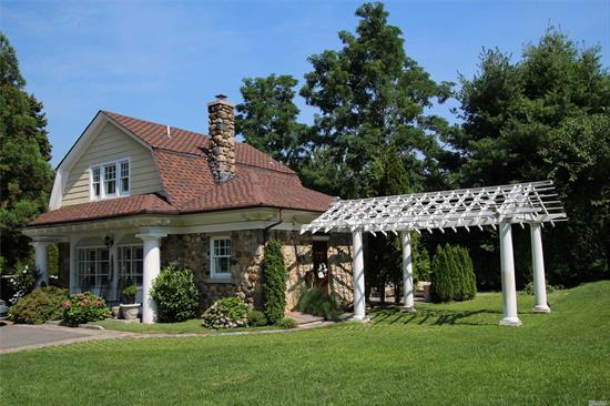 Charming Field Stone carriage house located in the coveted Village of Plandome. First floor offers living room with wood burning fireplace, dining area, new kitchen, full bath including a den or bedroom with french doors leading out to slate patio with pergola. Second floor offers Master bedroom and master bath. New kitchen and baths. Washer/dryer. House is being offered furnished. Beautiful landscaped property.