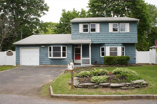 3 Bedrm Colonial on quiet cul de sac in East Islip. Updated eik w/new refrigerator, dining room, living room, family room, 1 car garage and attic space. New carpeting. Walking distance to train. Sold as is. A must see!!