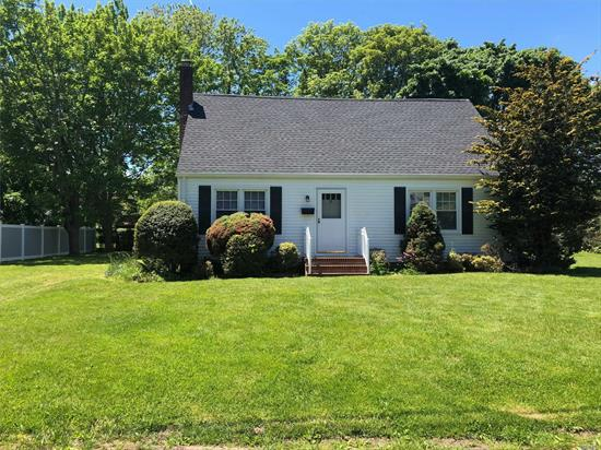Delightful Greenport Cape located in a quiet neighborhood and just 9 houses away from a remarkable Long Island Sound beach and park. This home has hardwood floors, eat in kitchen, oversized living room and dining room , one bedroom and full bath on the first floor, upstairs there is 2 bedrooms , 1/2 bath, and lots of closet space. Quiet back yard with room for a pool.