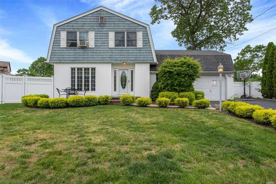 This 3 br/1.5 bath colonial set in beautiful cul-de-sac, features a welcoming EF, spacious granite EIK w/ SS app's, pantry & island, large living rm, den with brick fp & sliders leading to wrap around trex deck. Large mstr br with double closests, 2 add'l spacious br's, full family bth, full finished basement w/ldry rm & tons of storage, gas heat & 200 amp elec. AG pool w/new liner&filter. All this set on beautiful flat property. Will not last!