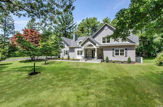 Beautiful Flower Hill Location, Stunning Newly Expanded Totally Renovated Top to Bottom. Virtually a New Home Featuring: Coffered 11' Ceilings, Grand 2-Story EF, Striking Stacked-Stone Frplc, 1st Flr Mstr Ste., 2 Spacious 2nd Fl Bdrms w/ Jack & Jill FBth. New Roof, All New Andersen Windows & Siding, All New Hrdwd Flrs, 200 Amp Electrical Service & Plumbing, New Oil Burner and Septic Sys, New Spklr Sys, Finished Basement with HA & CAC. Minutes to Huntington Village, Beaches and LIRR. 1 Hr.to NYC