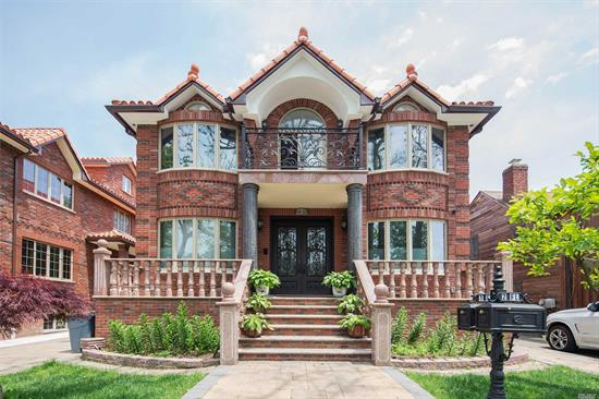 Beautiful & Luxury super large two family. Cement &street Building, Each floor almost 1600 sqft. 3 suites over 3 suites w/ all Crystal Lamps. Enclosed kitchen & Formal Dinning room, Heating floor thru whole 1st floor & basement. Top Materials.