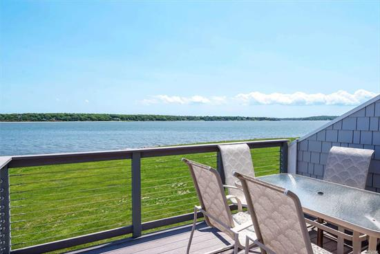 Direct Bay Front Condo with forever views East, South & West over Peconic Bay, the South Fork and Shelter Island. This true 2 bed, 2 bath unit with bonus Loft is the one you've been waiting for. Perfect year round get away at Cleaves Point the premiere Bay Front Condominium Community set on 14 landscaped acres with Marina, Sandy Beach, Pool, Clubhouse, Tennis, Pickle Ball, Ping Pong, Billiards, list is too long...Currently the only unit available for sale. The Bay is waiting, are you ready?