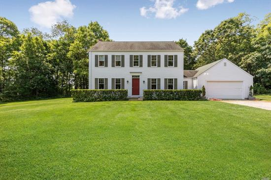 Looking for ultimate privacy? This wonderful Center Hall Colonial sited on 2.2 acres down a long private drive offers just that. 3Br, 2.5Ba, FDR, LR, Family room w/F/P, Eik, Lndy Room, 2 car attached, full basement.
