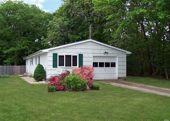 Move right into this Meticulously maintained 3 bed room 1 bath ranch located in North Shirley! This home offers laminate floors, high vaulted ceilings, an updated roof, gutters and soffits, updated Oil burner, some updated SS appliances, a separate dry well for the washing machine and so much more! Sitting on about 1/4 acre property, close to the beach and all major highways and shopping, with a price point to make this your perfect home!